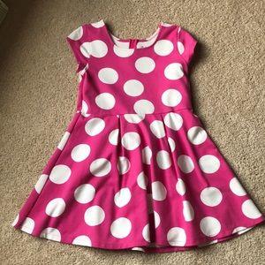 Children's Place Hot pink & white polka dot dress